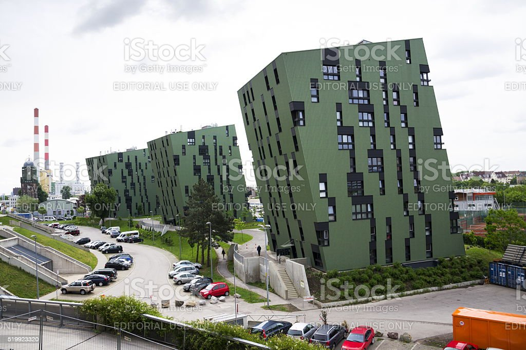 Modern residential apartments living house exterior near Gasometers of Vienna stock photo