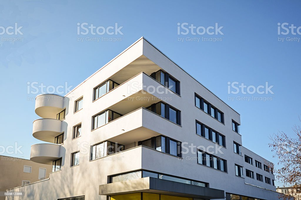 Modern residential building, Facade of new low-energy house stock photo