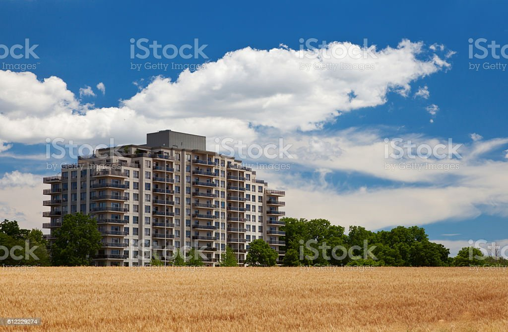 Modern residential building in the grain field landscape stock photo