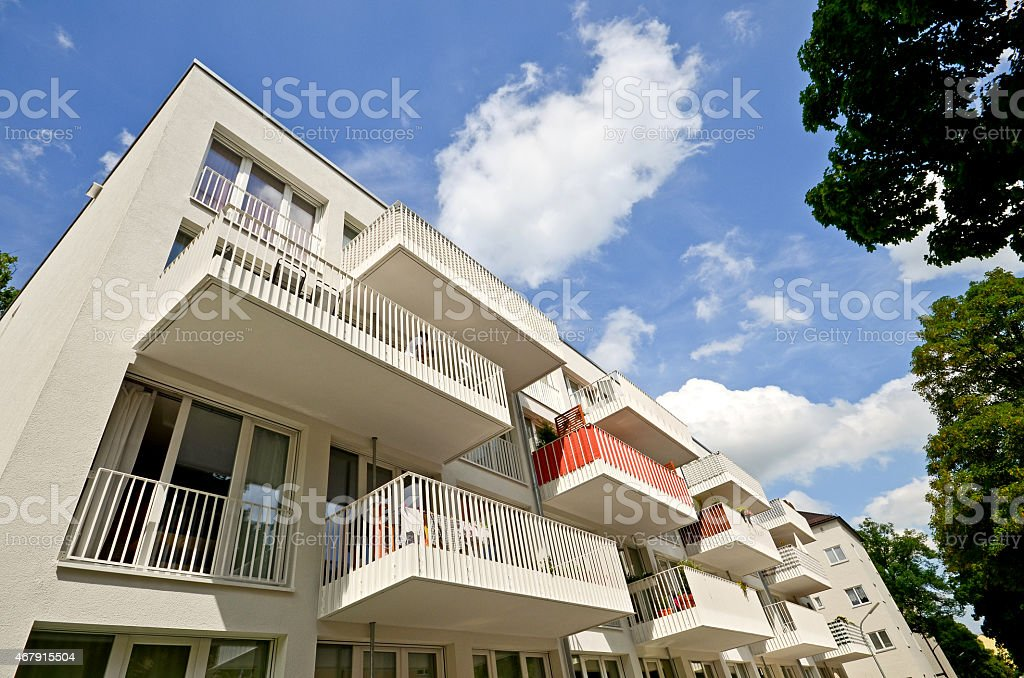 Modern residential buildings, Balconies of a new low-energy house stock photo
