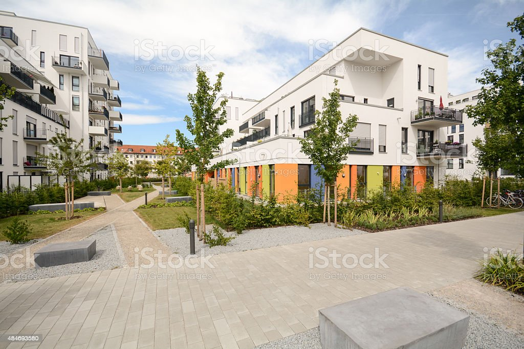 Modern residential buildings, Facade of new detatched houses stock photo