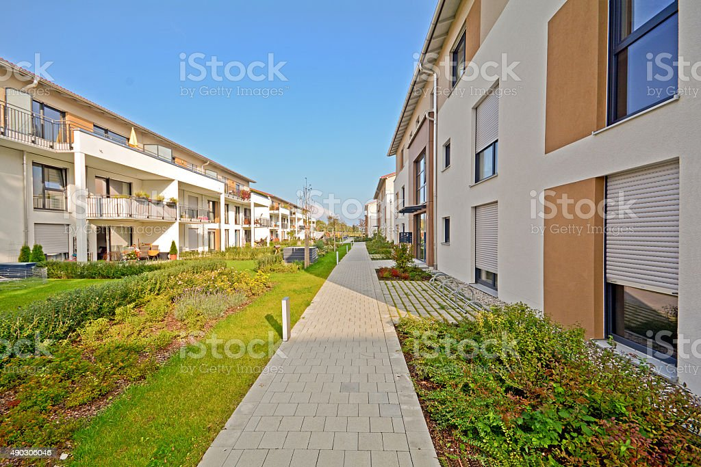 Modern residential buildings, Facade of new low-energy houses stock photo