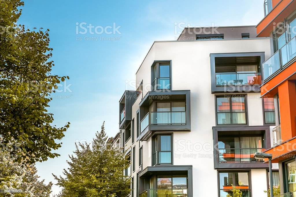 modern residential buildings in berlin stock photo