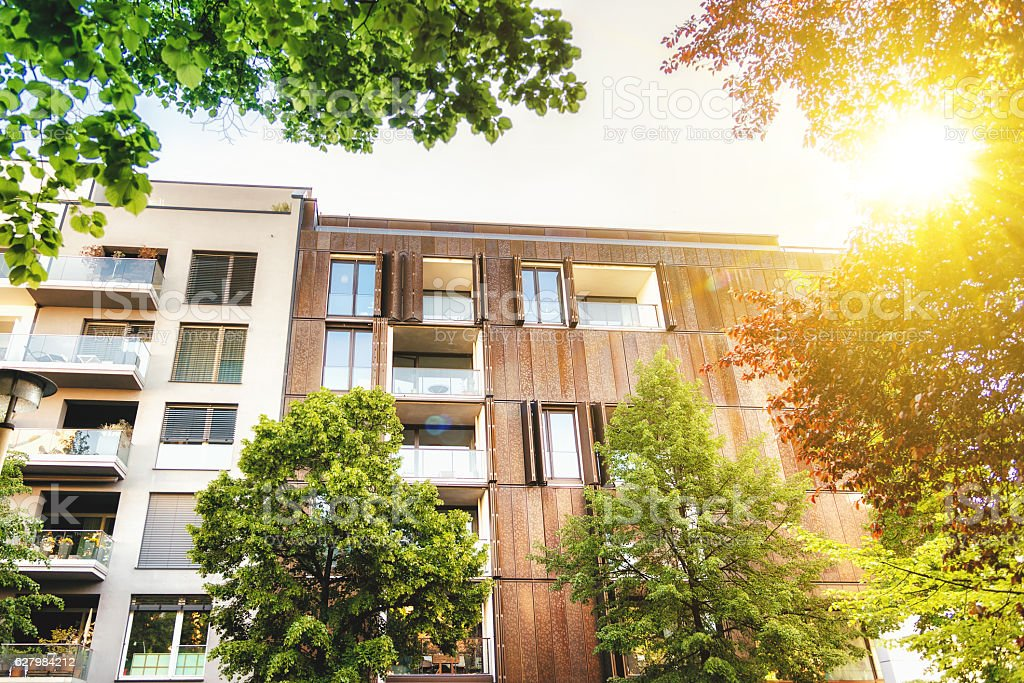 modern residential buildings in Berlin Prenzlauer Berg stock photo