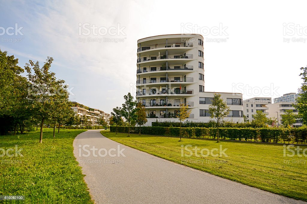 Modern residential tower, apartment building in a new urban development stock photo