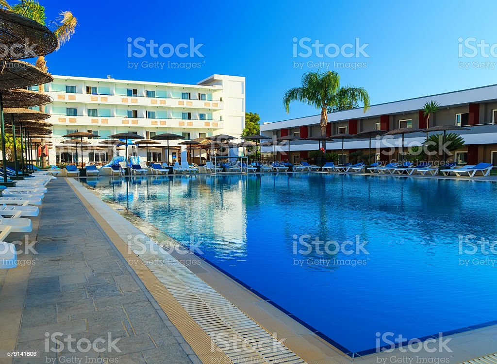 modern resort hotel Greece Rhodes on Aegean Sea stock photo