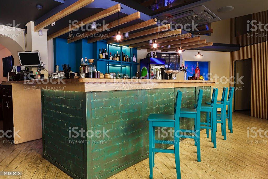 Modern restaurant, bar or cafe interior stock photo