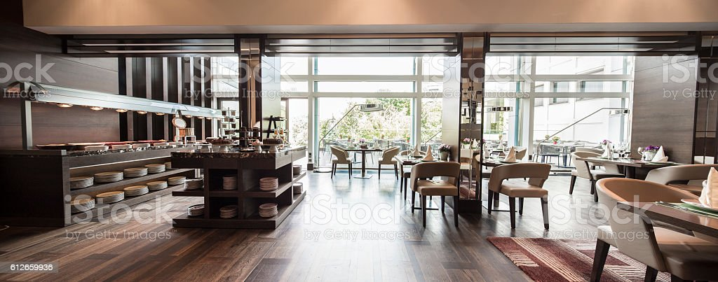 Modern restaurant interior, part of a hotel stock photo