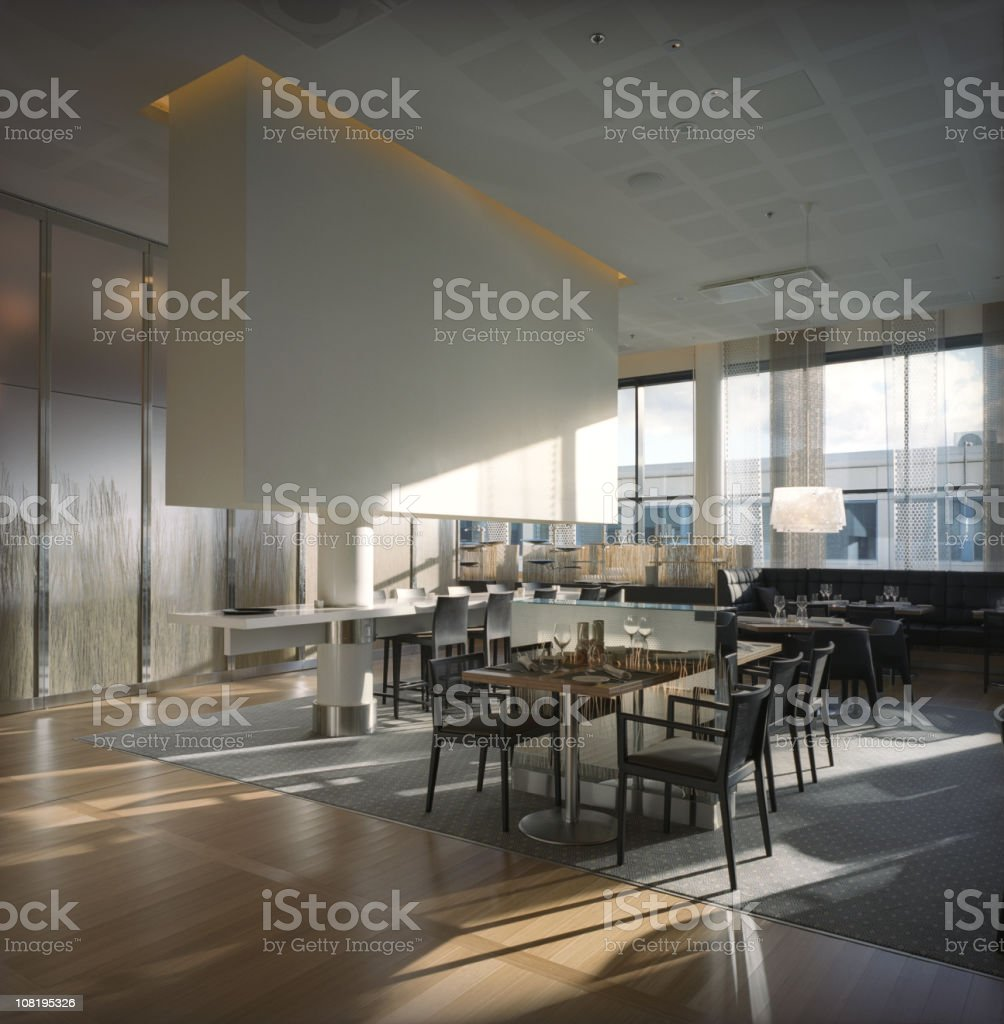 modern restaurant interior with large glass windows stock photo