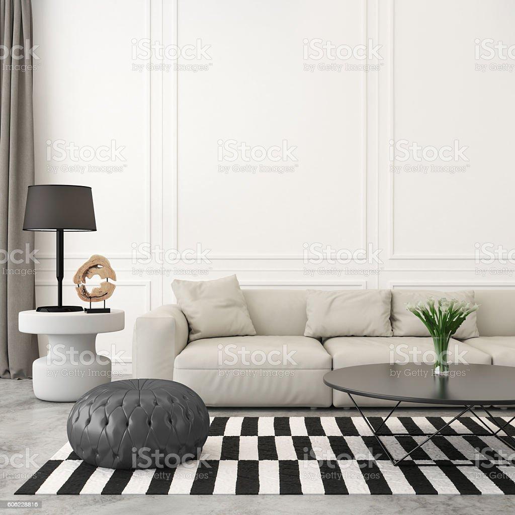 Modern retro living room with white sofa stock photo