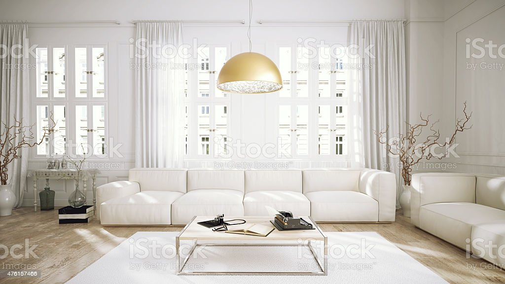 Modern retro style penthouse living room stock photo