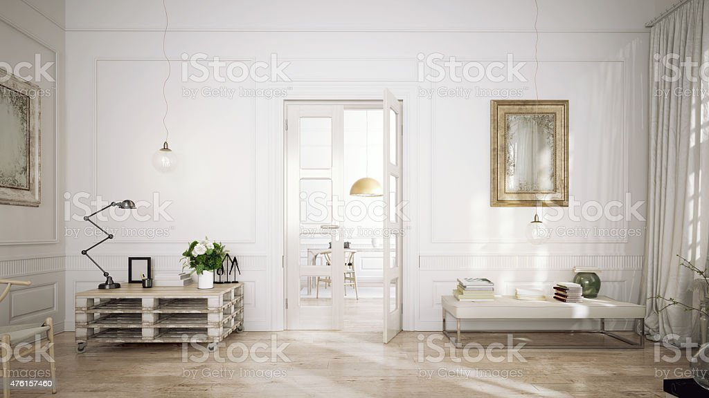 Modern retro style penthouse stock photo