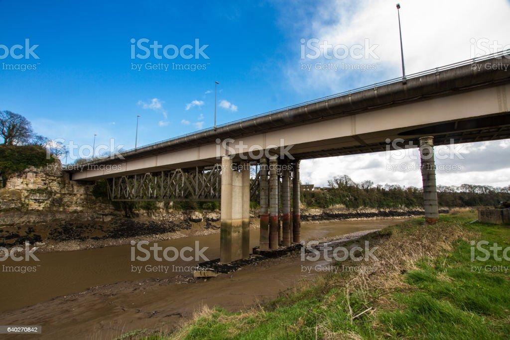 Modern road bridge over River Wye, Chepstow. stock photo