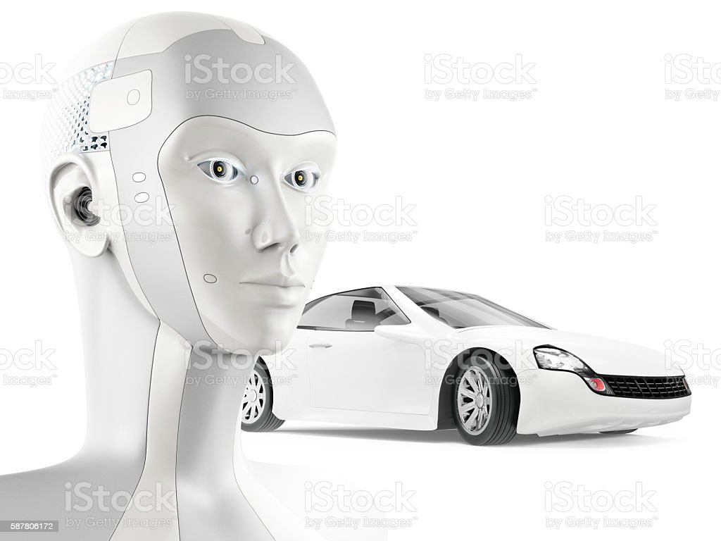 Modern robot and beautiful sports car on white background. stock photo