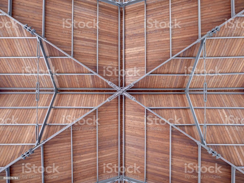 Modern roof of a port harbor made steel wood stock photo