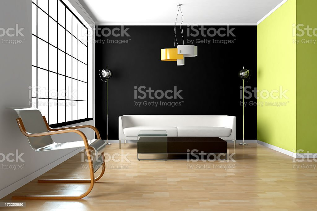 Modern room with bright interior royalty-free stock photo