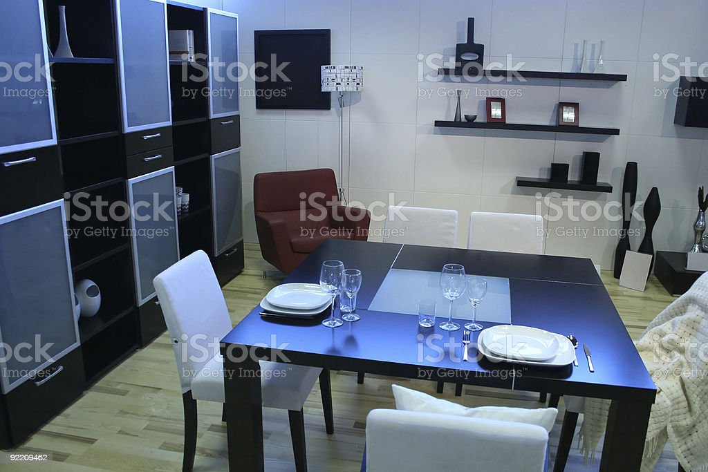 modern room with dining table stock photo