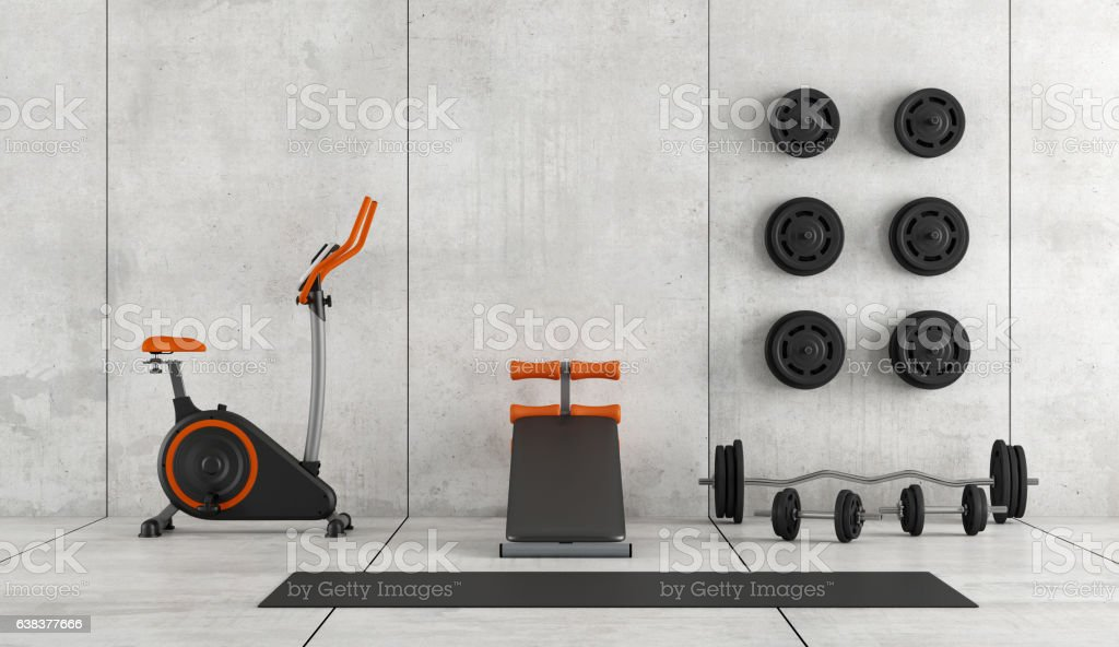 Modern room with gym equipment stock photo
