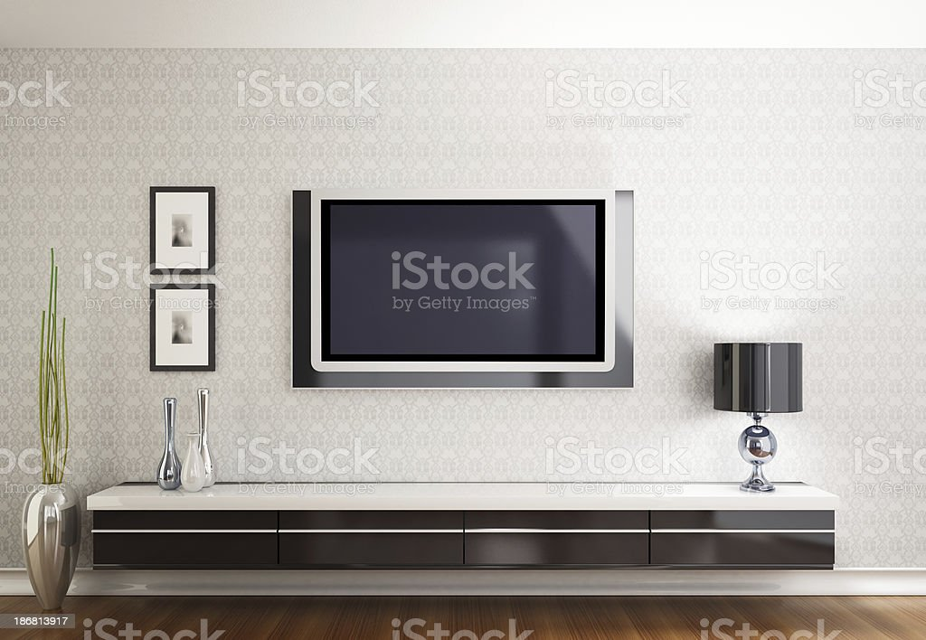 Modern room with TV stock photo