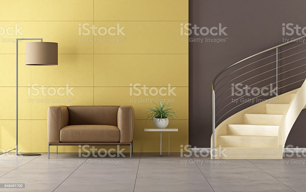 Modern room with wooden staircase stock photo
