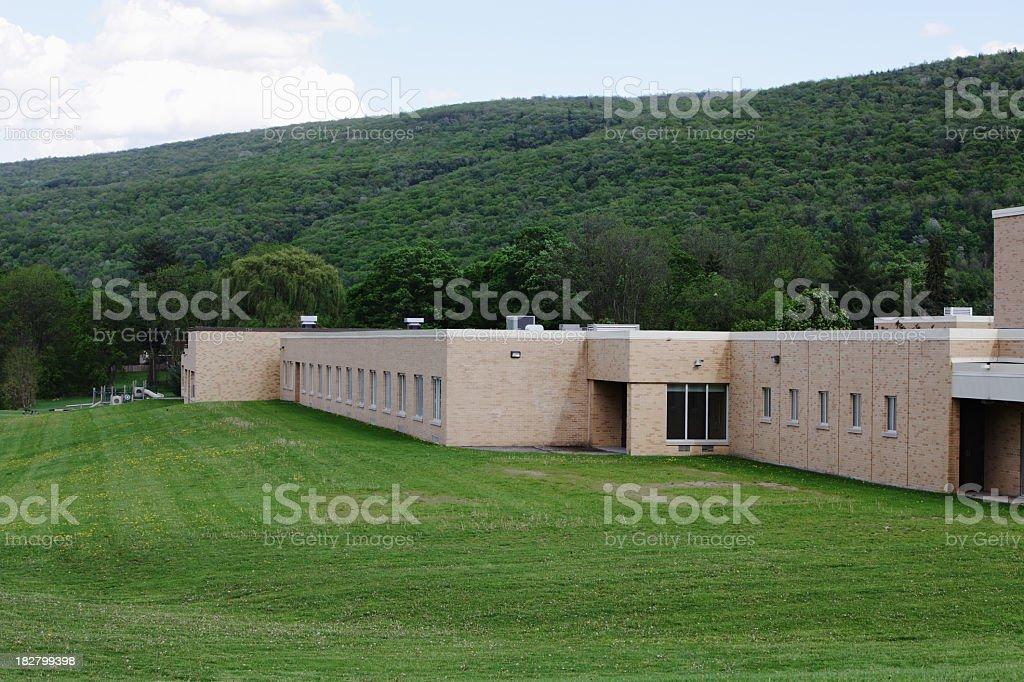 Modern Rural Elementary School Building royalty-free stock photo