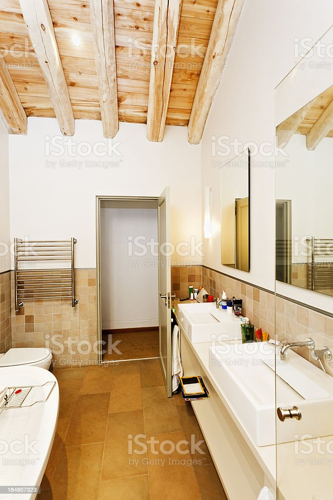 Modern rustic style bathroom with wooden floor and ceiling royalty-free stock photo