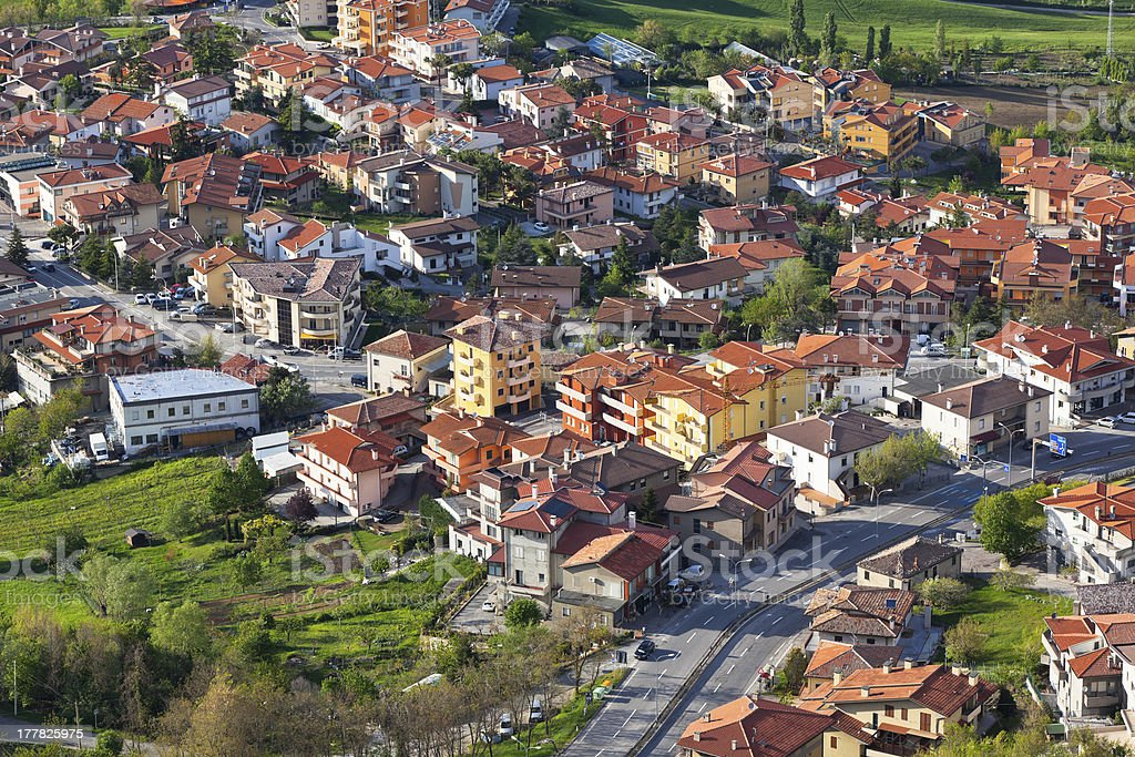 Modern San Marino Suburban districts view from above royalty-free stock photo