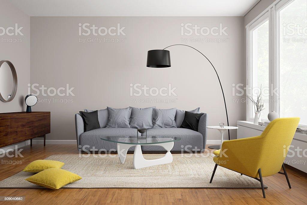 Modern scandinavian living room with grey sofa stock photo