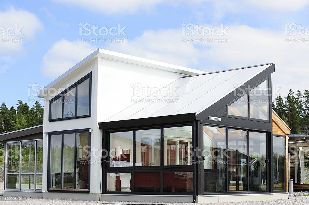 Modern scandinavian style villa stock photo