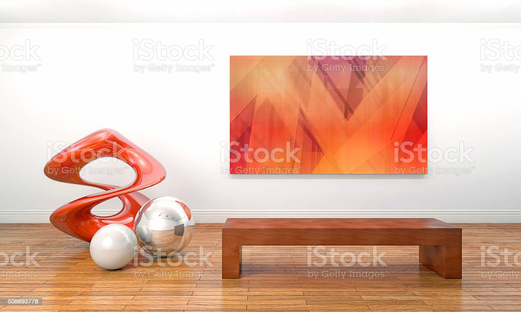 Modern sculpture and painting in contemporary art museum stock photo