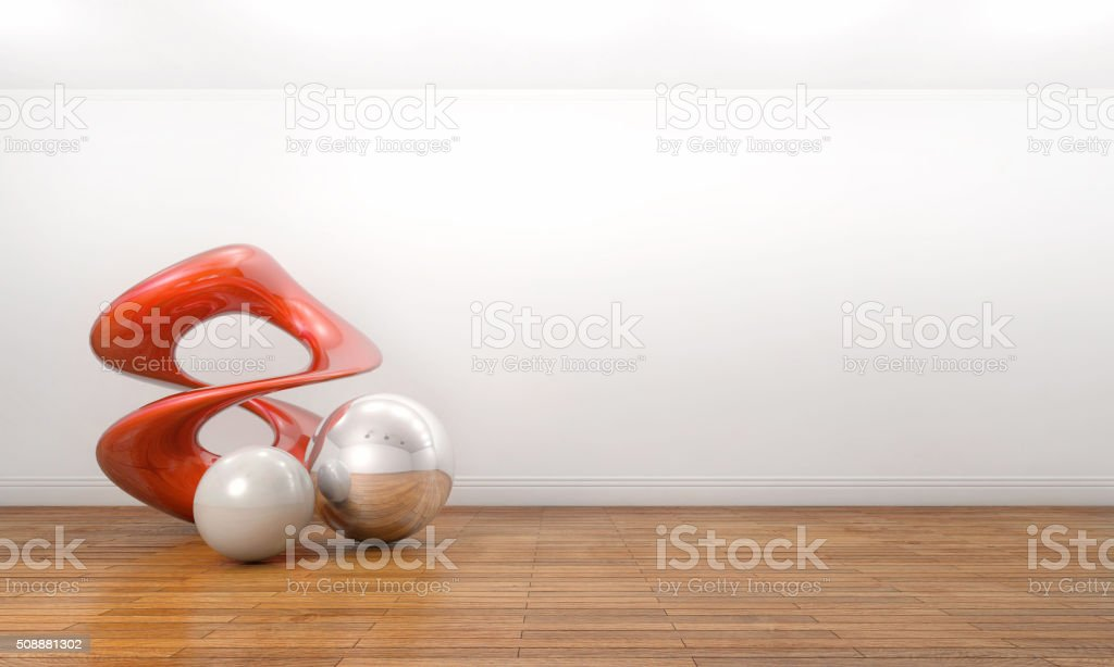 Modern sculpture in a empty white art gallery stock photo