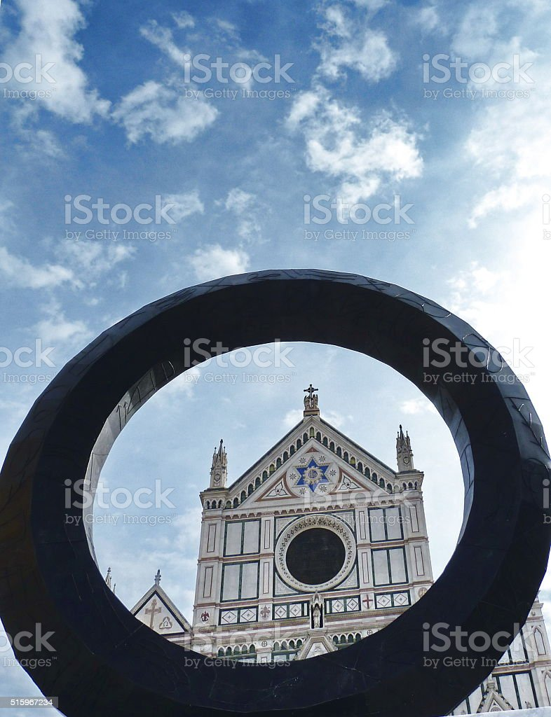 Modern sculpture in front of Santa Croce, Florence stock photo