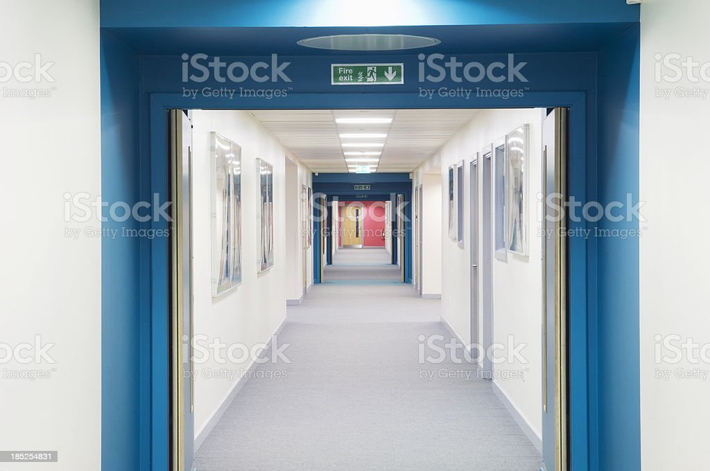 Modern secondary school corridor stock photo