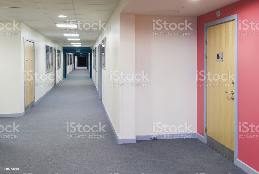 Modern secondary school corridor royalty-free stock photo
