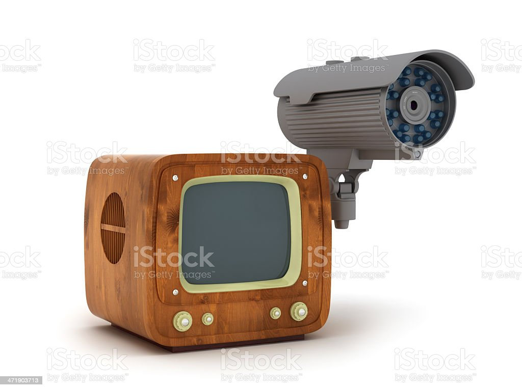 Modern security cam and retro tv isolated on white royalty-free stock photo
