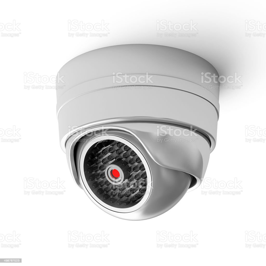 Modern Security Camera isolated on white background stock photo