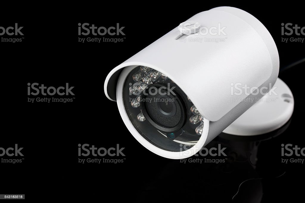 Modern security camera  Video surveillance stock photo