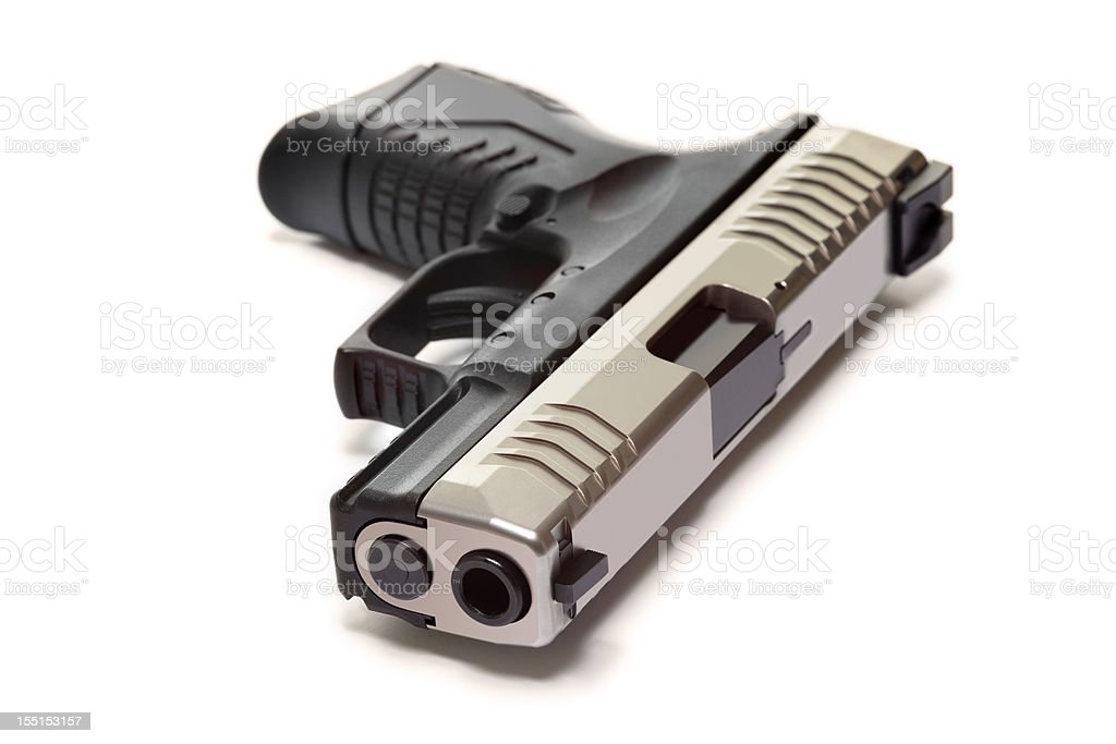 Modern Semiautomatic Handgun Isolated On White stock photo