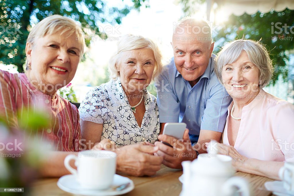 Modern seniors stock photo