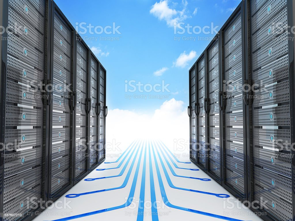 Modern server and cloud stock photo