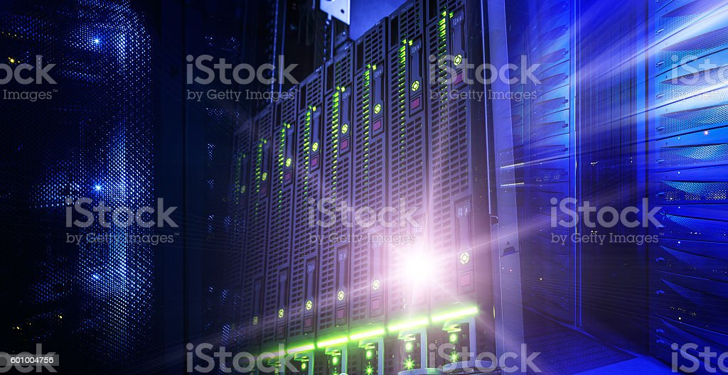 Modern server data center information technologies collage wuth light stock photo