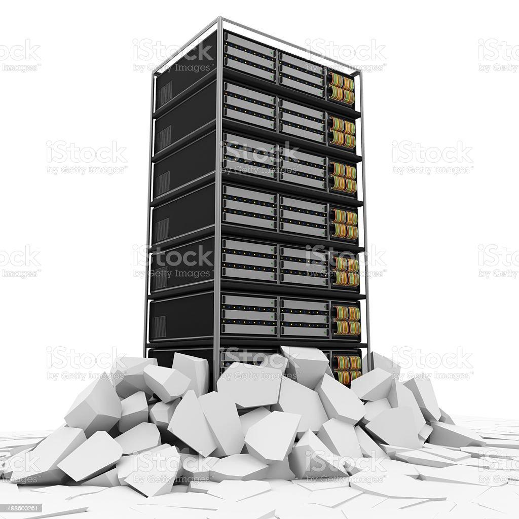 Modern Server Rack Breaking Through From Floor stock photo