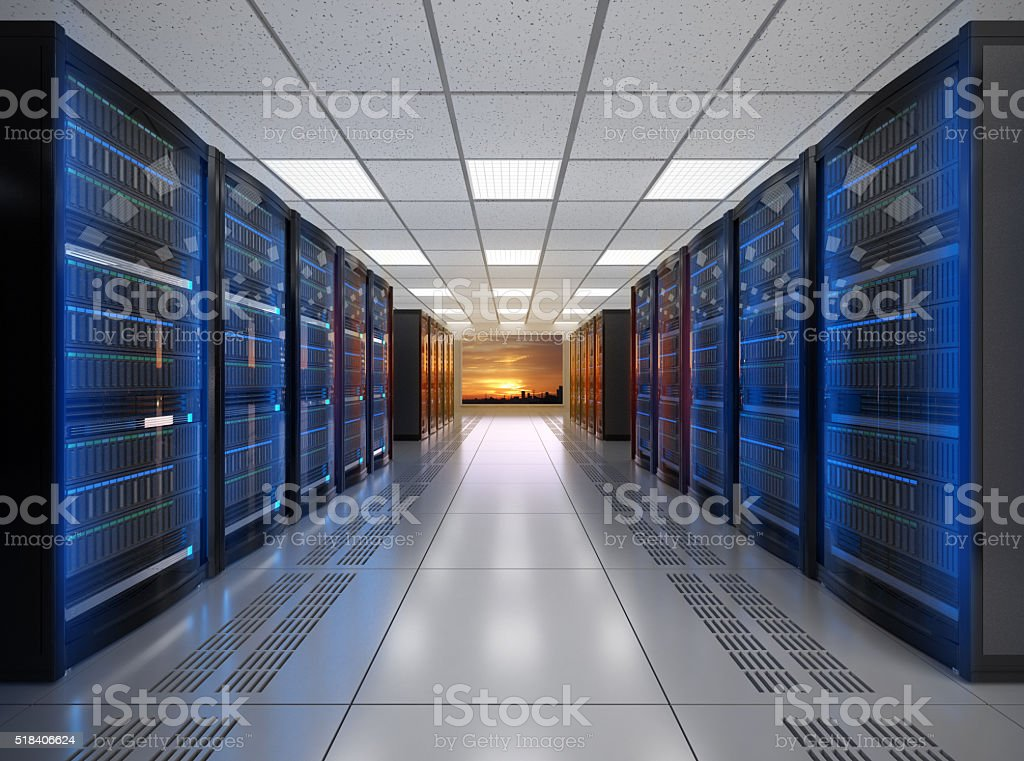 Modern server room interior with sunset scene outside the window stock photo