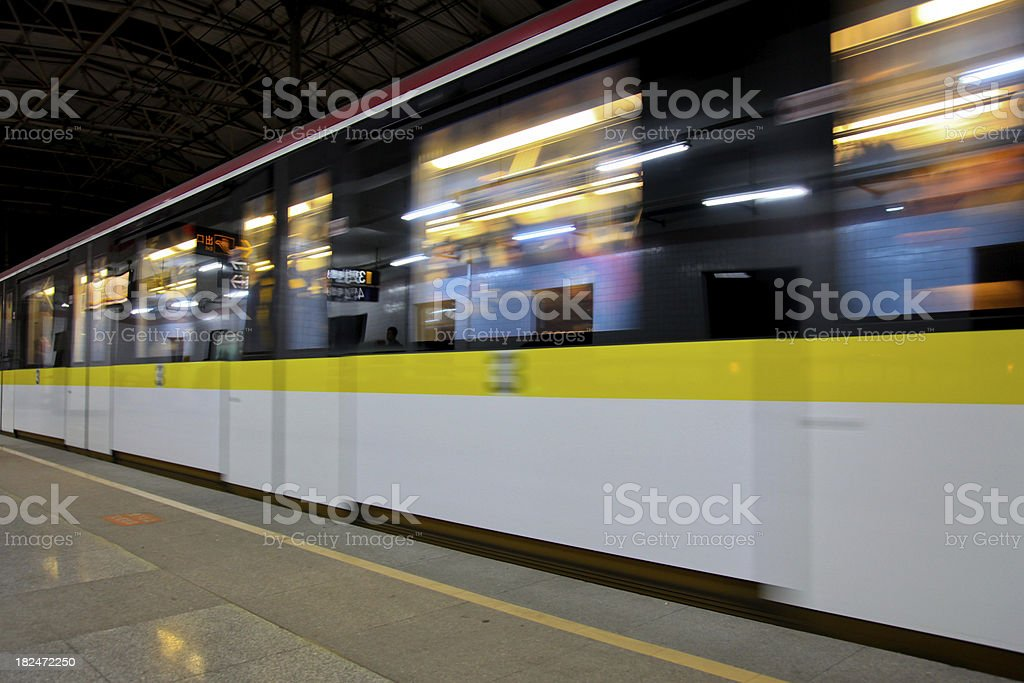 Modern Shanghai: Brightly colored subway trains royalty-free stock photo