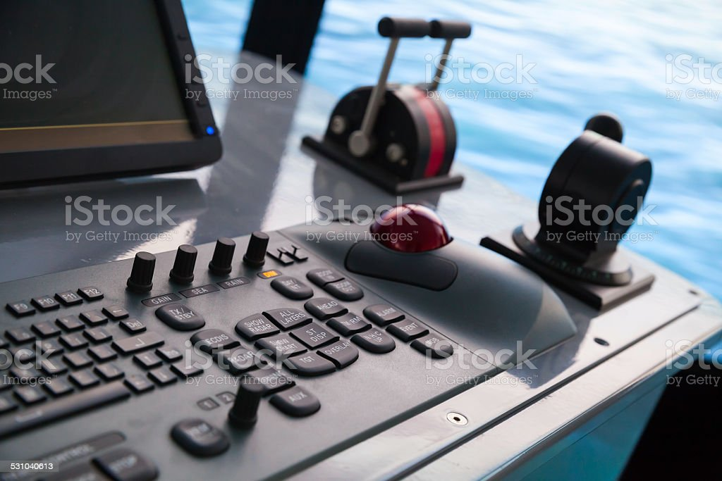 Modern ship control panel with keyboard and accelerator stock photo