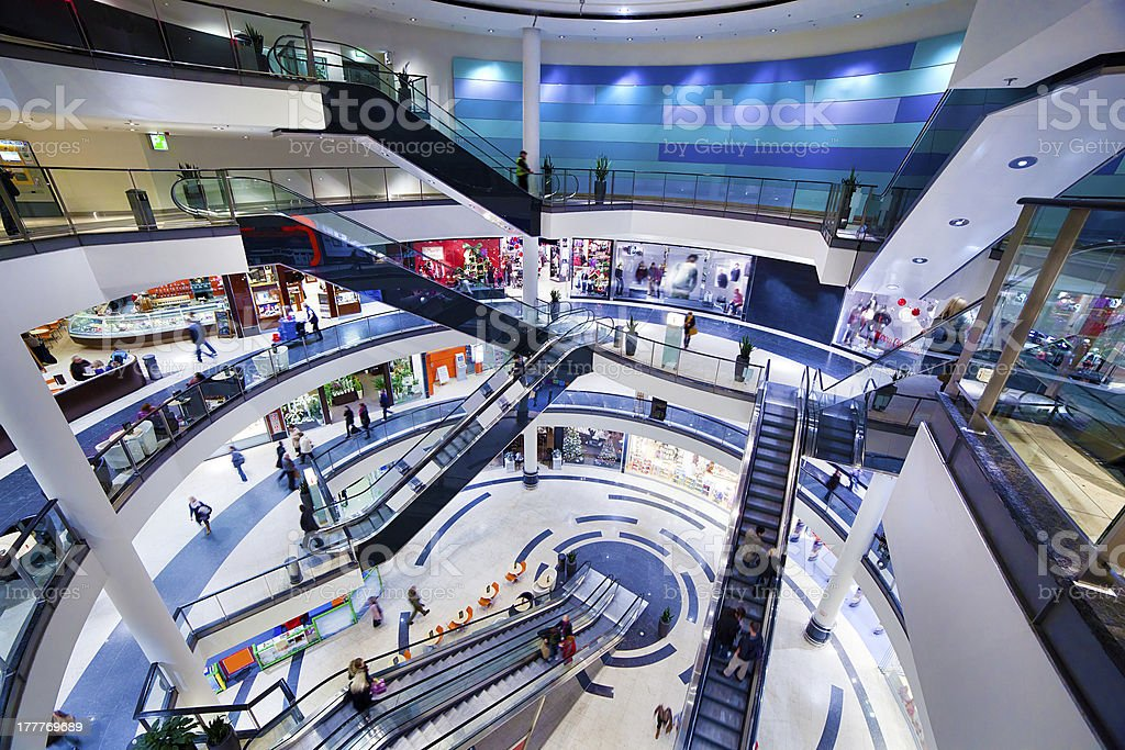 Modern shopping mall interior stock photo