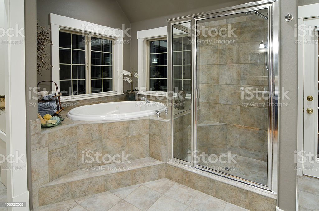 Modern shower and SPA room made of stones and tiles stock photo