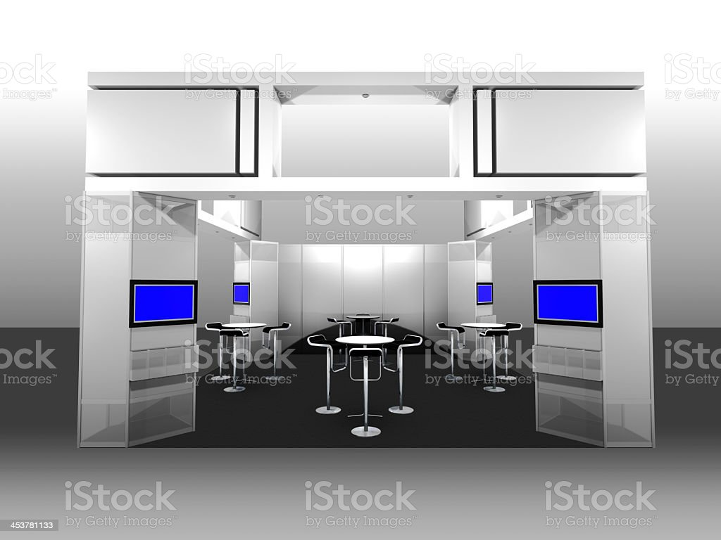 Modern silver and blue exhibition booth stock photo