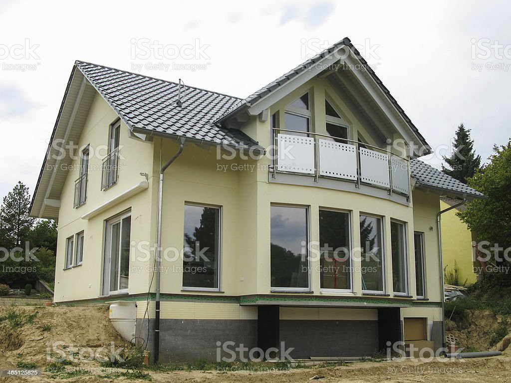 Modern single-family house with glass front stock photo