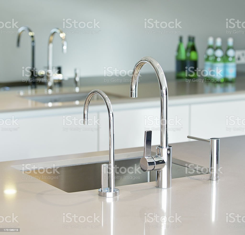 Modern sink unit stock photo